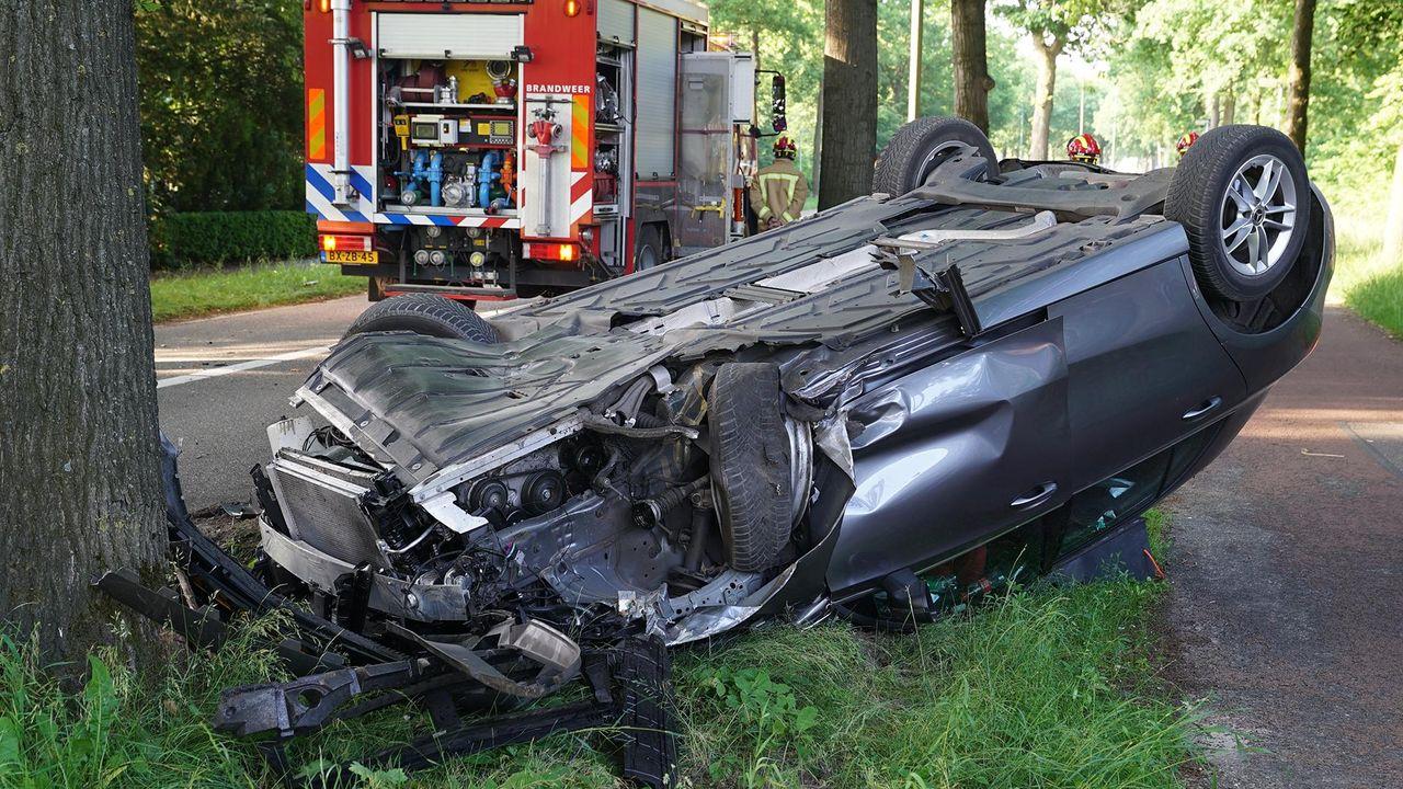 Auto slaat over de kop; komt tot stilstand tegen een boom
