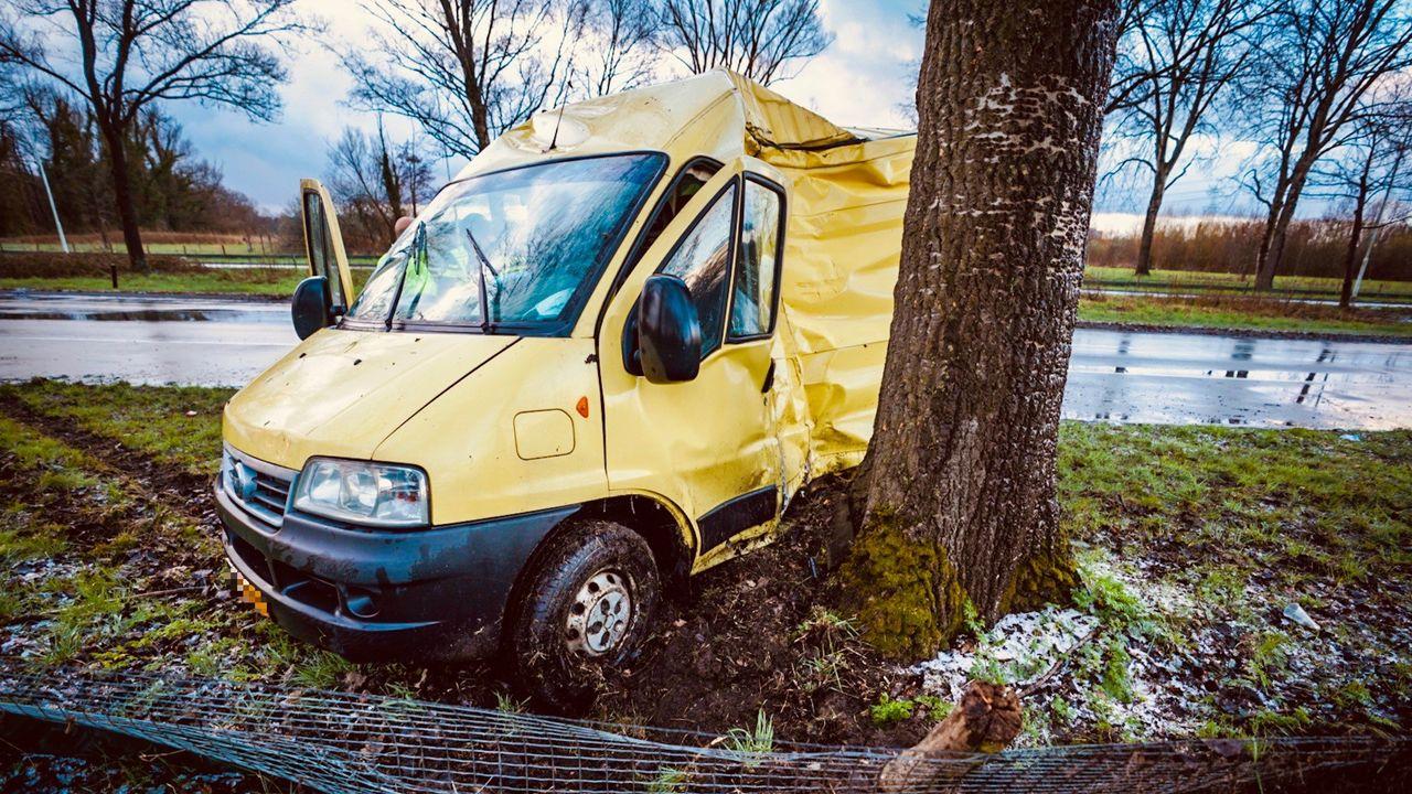 Bestelbus schiet van de weg in Eindhoven en botst tegen boom