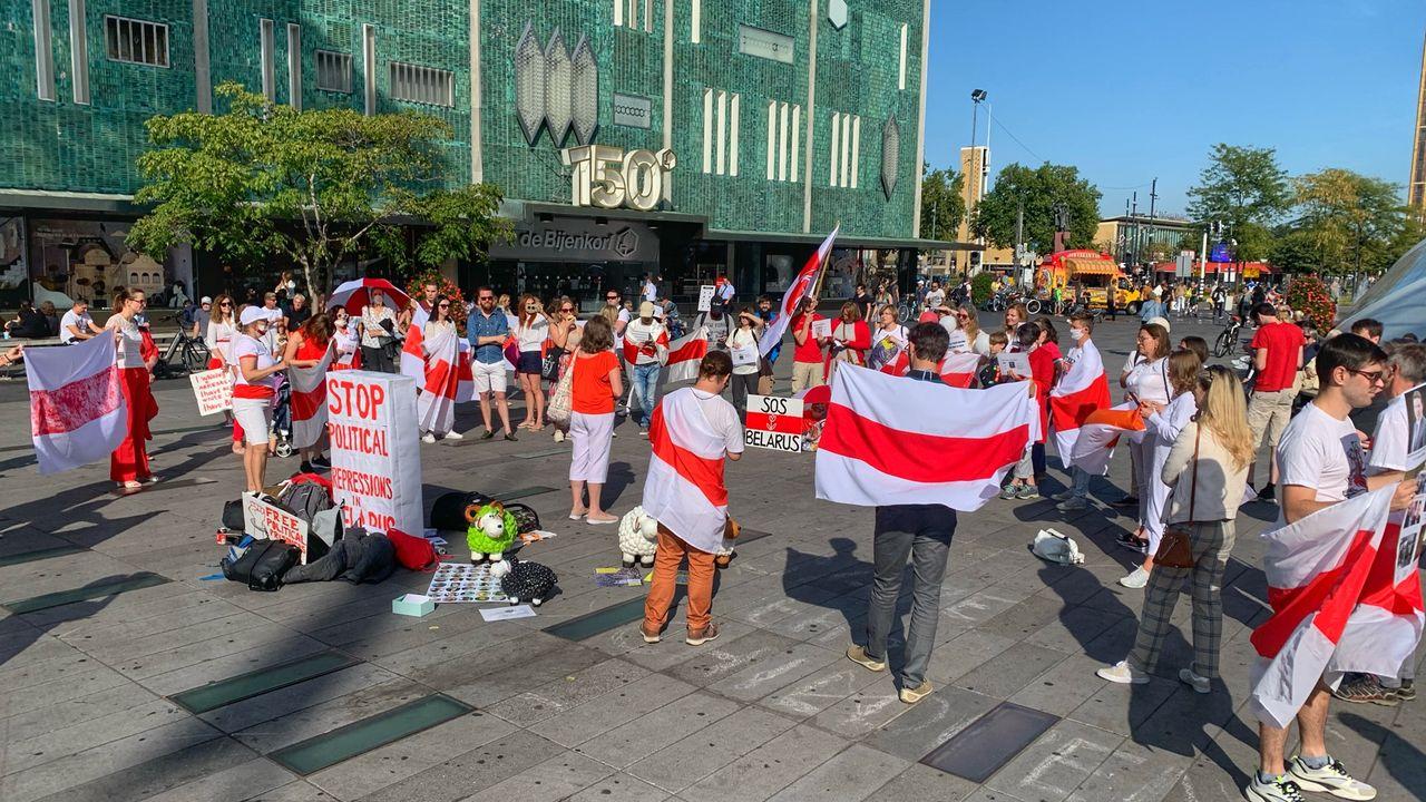 Protest tegen regime Wit-Rusland in centrum Eindhoven