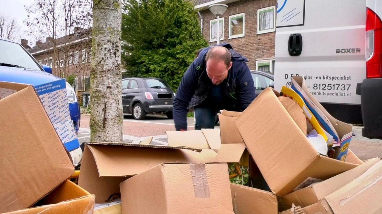 'Een oude man struikelde over het rondslingerende karton'